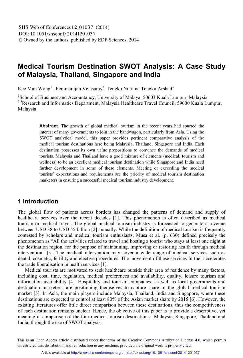 PDF Medical Tourism Destination SWOT Analysis A Case