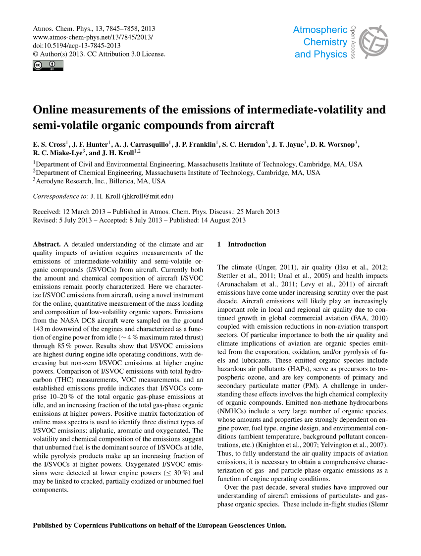 medium resolution of  pdf online measurements of the emissions of intermediate volatility and semi volatile organic compounds from aircraft