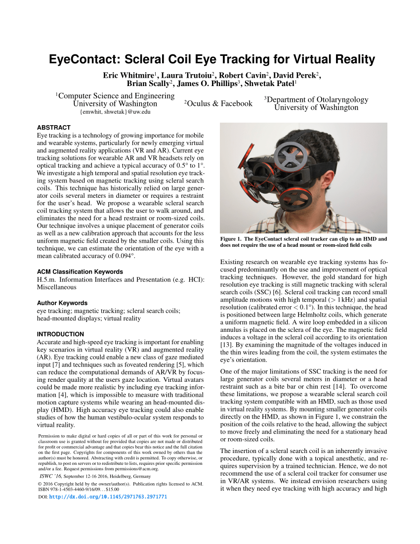 (PDF) EyeContact: scleral coil eye tracking for virtual reality