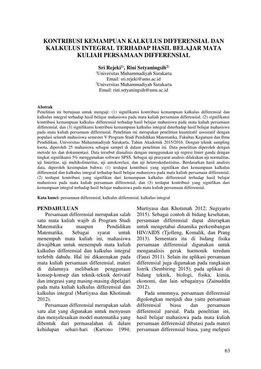 Materi kuliah kalkulus semester i (kalkulus) bilangan real, pertaksamaan. Pdf Kontribusi Kemampuan Kalkulus Differensial Dan Kalkulus Integral Terhadap Hasil Belajar Mata Kuliah Persamaan Differensial