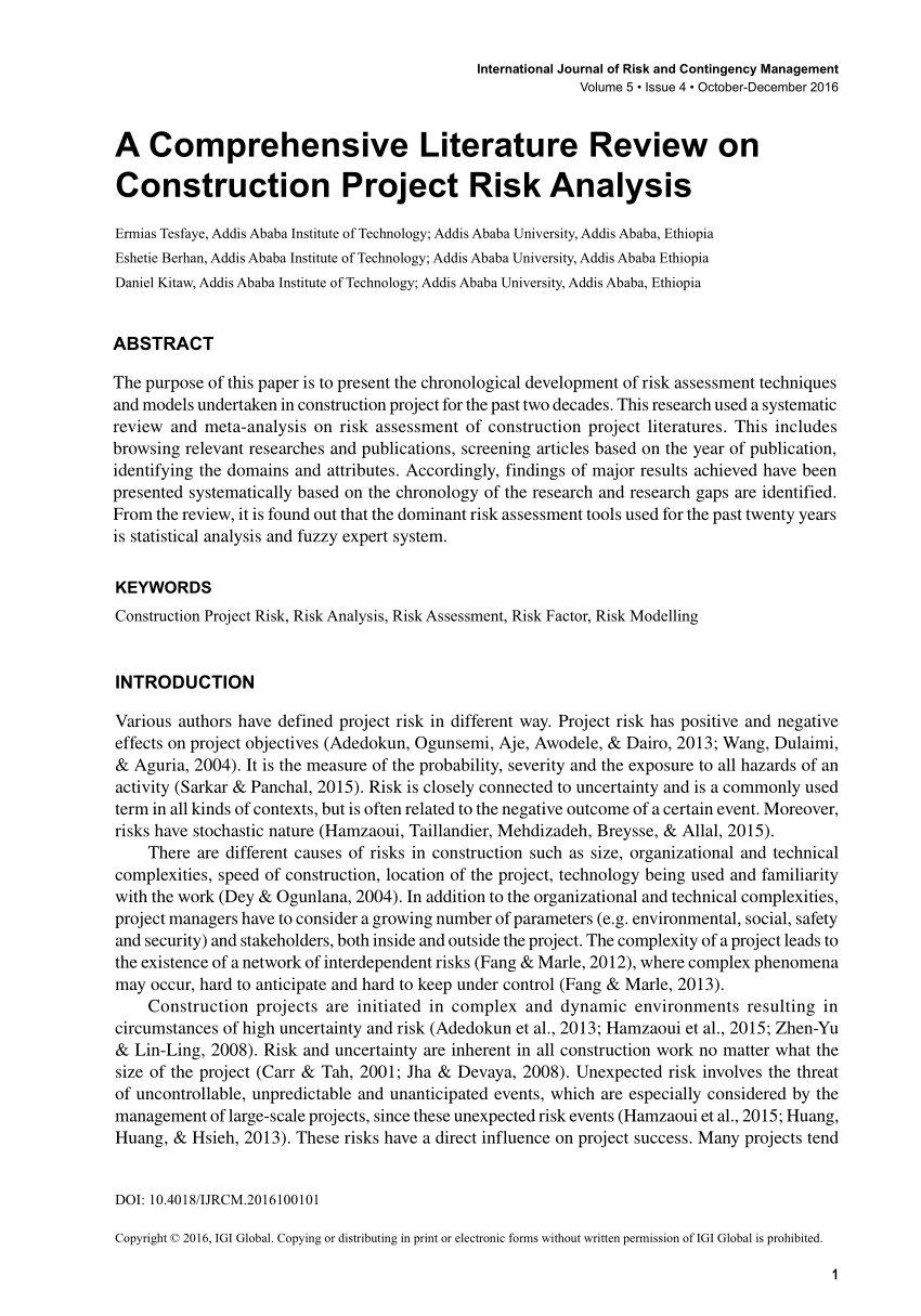 (PDF) A Comprehensive Literature Review on Construction Project Risk Analysis