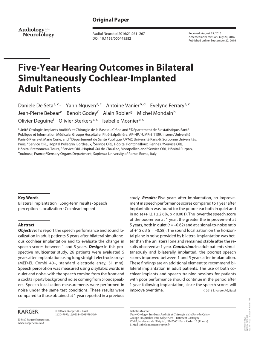 hight resolution of bilateral cochlear implantation current concepts indications and results request pdf
