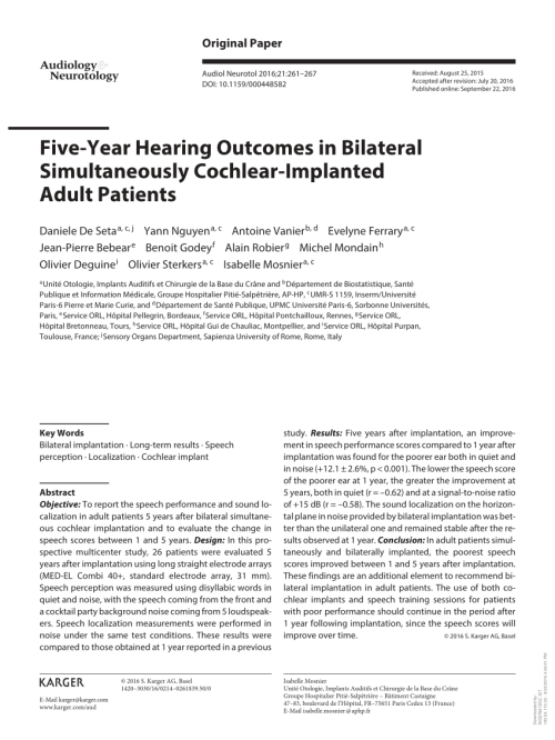 small resolution of bilateral cochlear implantation current concepts indications and results request pdf