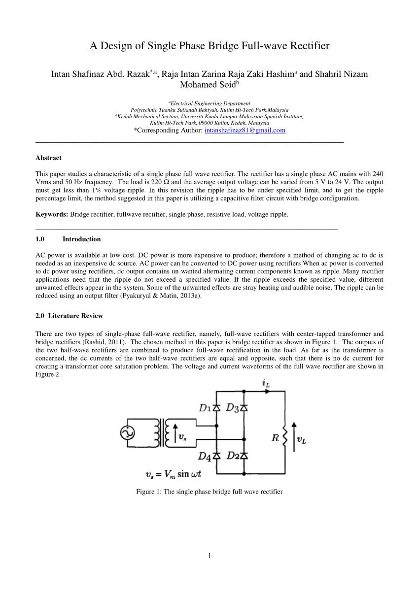 medium resolution of  pdf a design of single phase bridge full wave rectifier