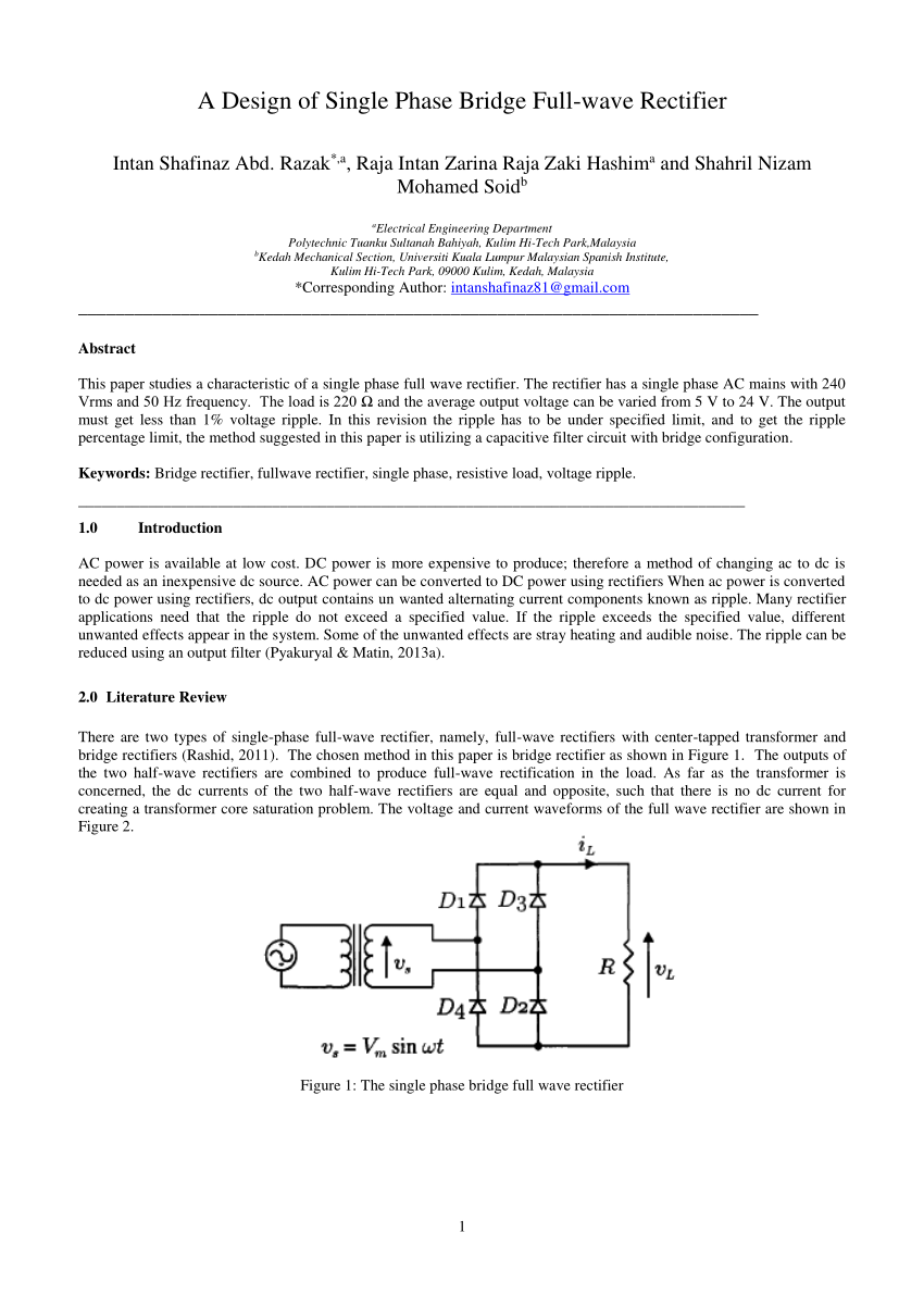 hight resolution of  pdf a design of single phase bridge full wave rectifier