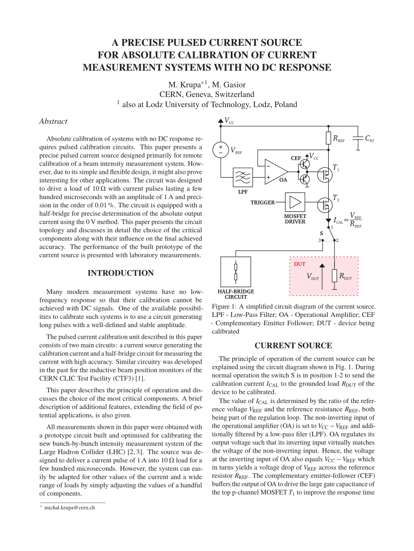 hight resolution of  pdf a precise pulsed current source for absolute calibration of current measurement systems with no dc response