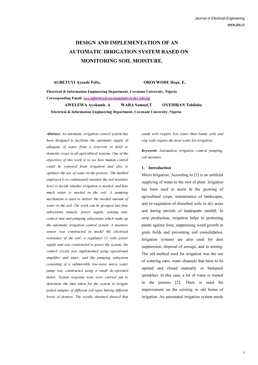 medium resolution of  pdf design and implementation of an automatic irrigation system based on monitoring soil moisture