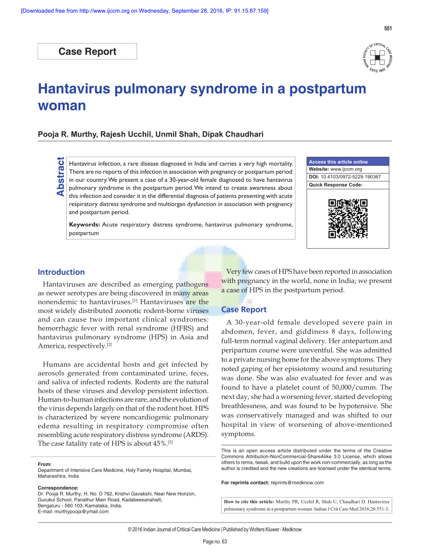 PDF) Hantavirus pulmonary syndrome in a postpartum woman