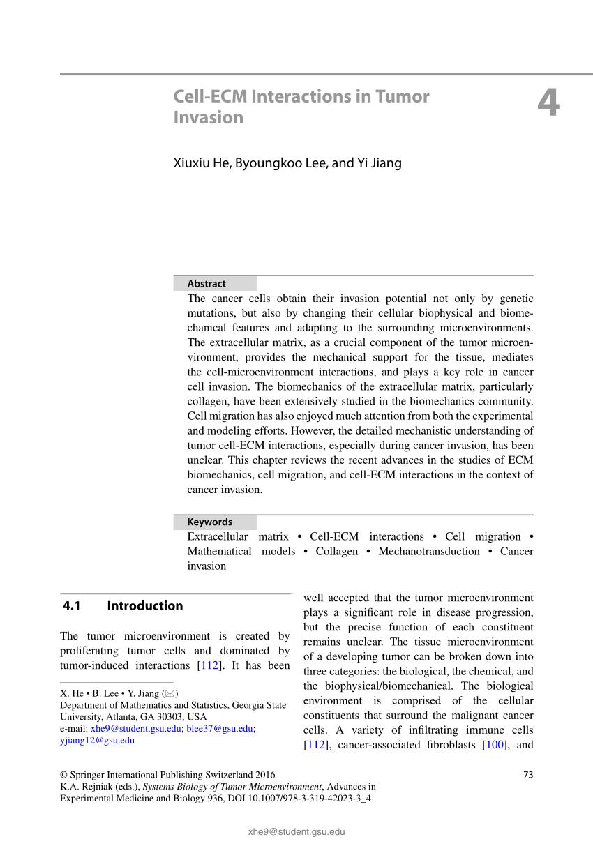 medium resolution of  pdf cell ecm interactions in tumor invasion