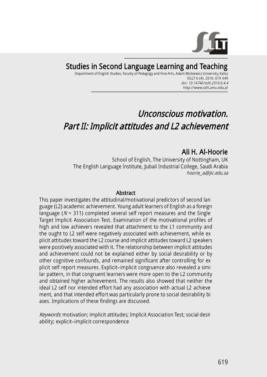 PDF Unconscious Motivation Part II Implicit Attitudes And L2