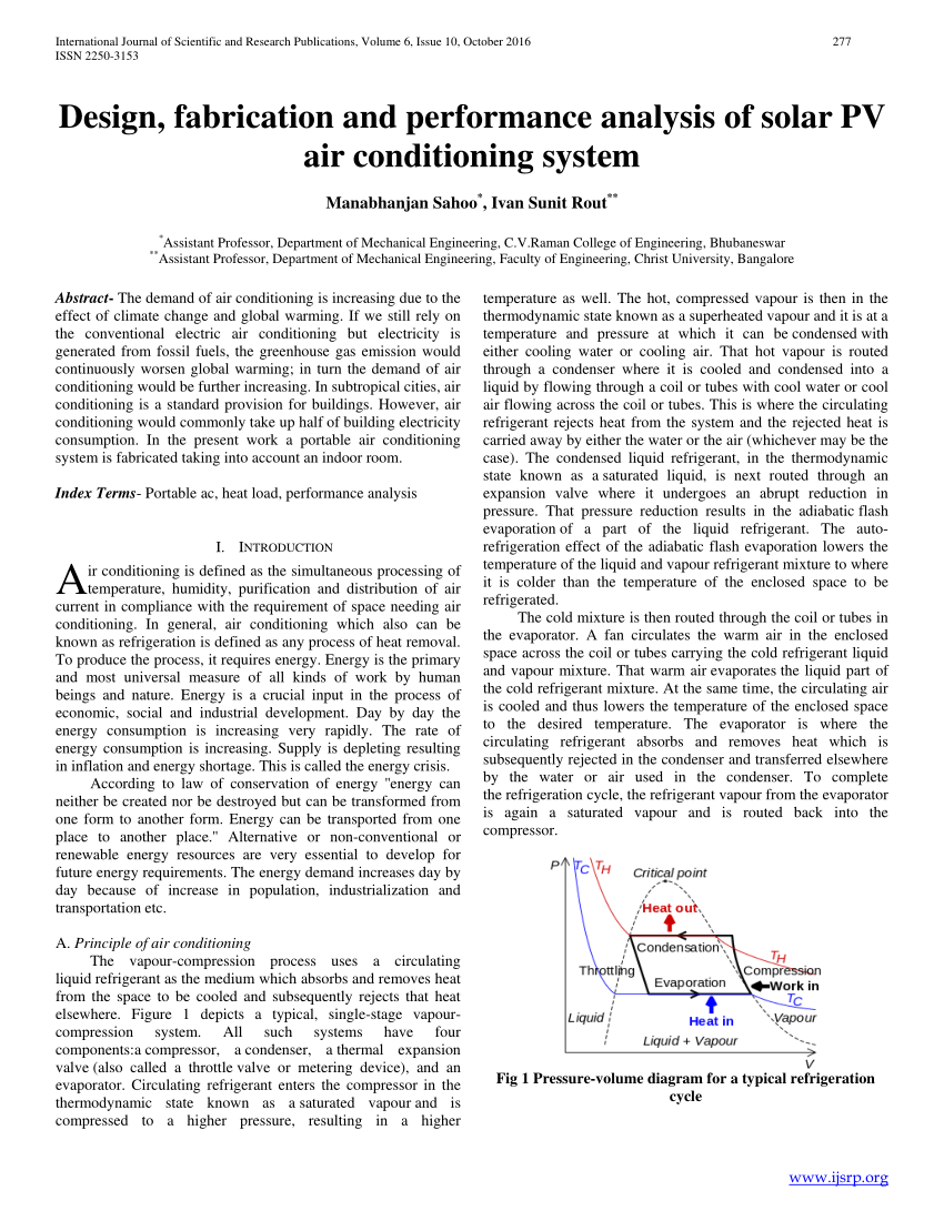 medium resolution of  pdf design fabrication and performance analysis of solar pv air conditioning system