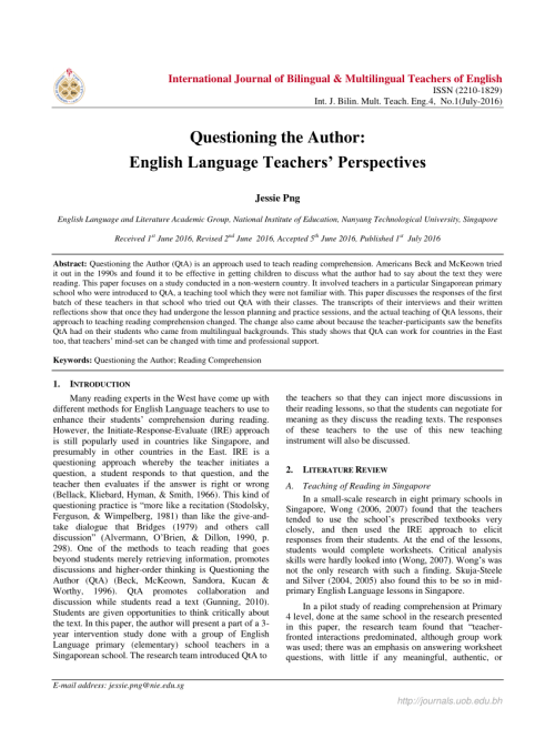 small resolution of PDF) Questioning the Author: English Language Teachers' Perspectives