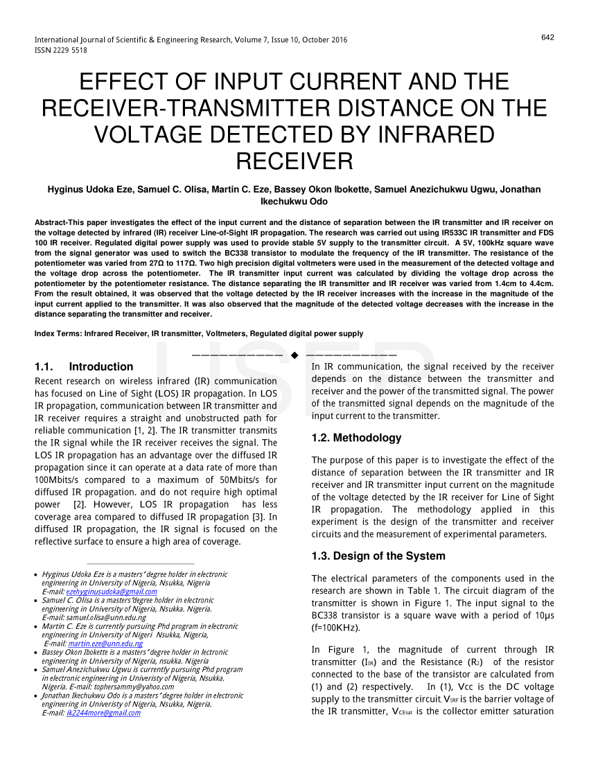 medium resolution of  pdf effect of input current and the receiver transmitter distance on the voltage detected by infrared receiver