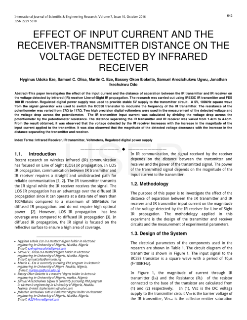 small resolution of  pdf effect of input current and the receiver transmitter distance on the voltage detected by infrared receiver