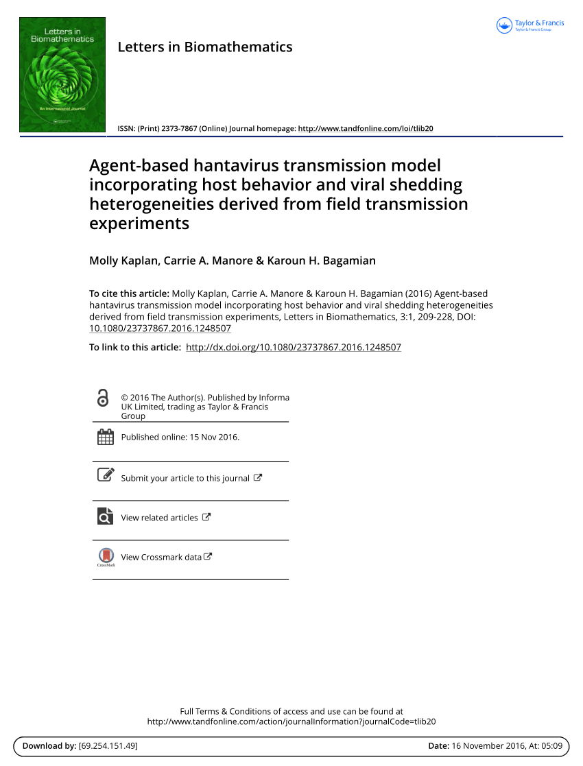 PDF) Agent-based hantavirus transmission model incorporating host ...