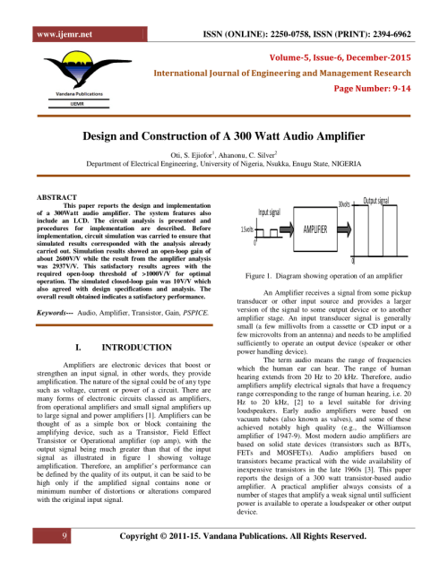 small resolution of  pdf design and construction of a 300 watt audio amplifier
