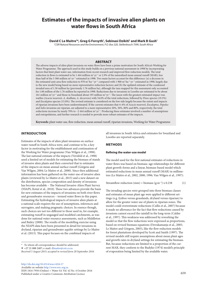(PDF) Estimates of the impacts of invasive alien plants on