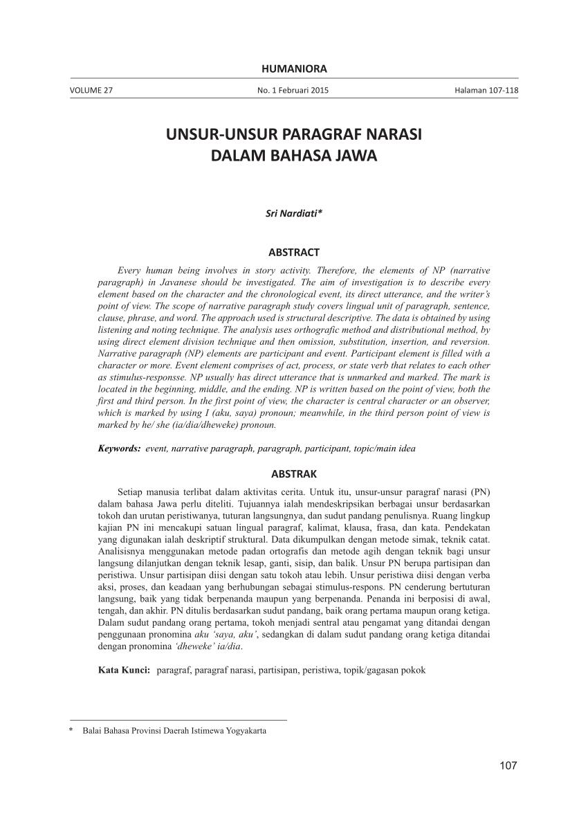 Narasi Bahasa Jawa : narasi, bahasa, UNSUR-UNSUR, PARAGRAF, NARASI, DALAM, BAHASA