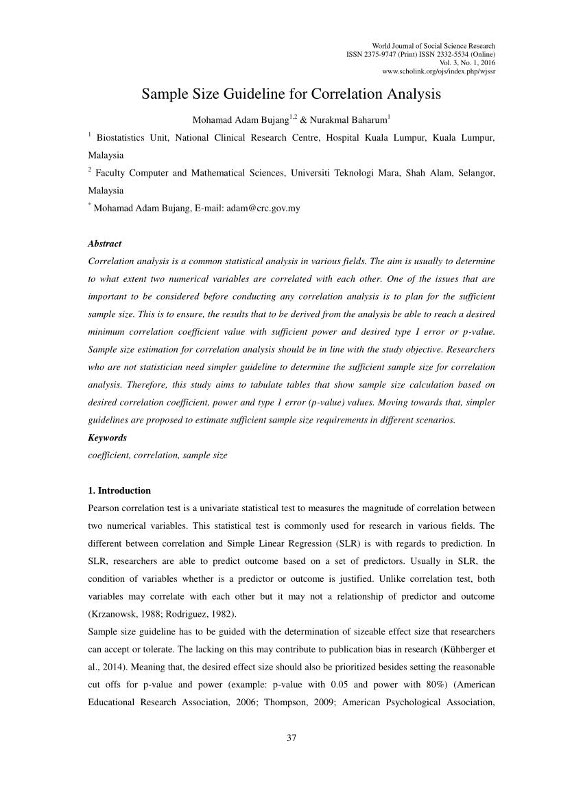 PDF Sample Size Guideline For Correlation Analysis