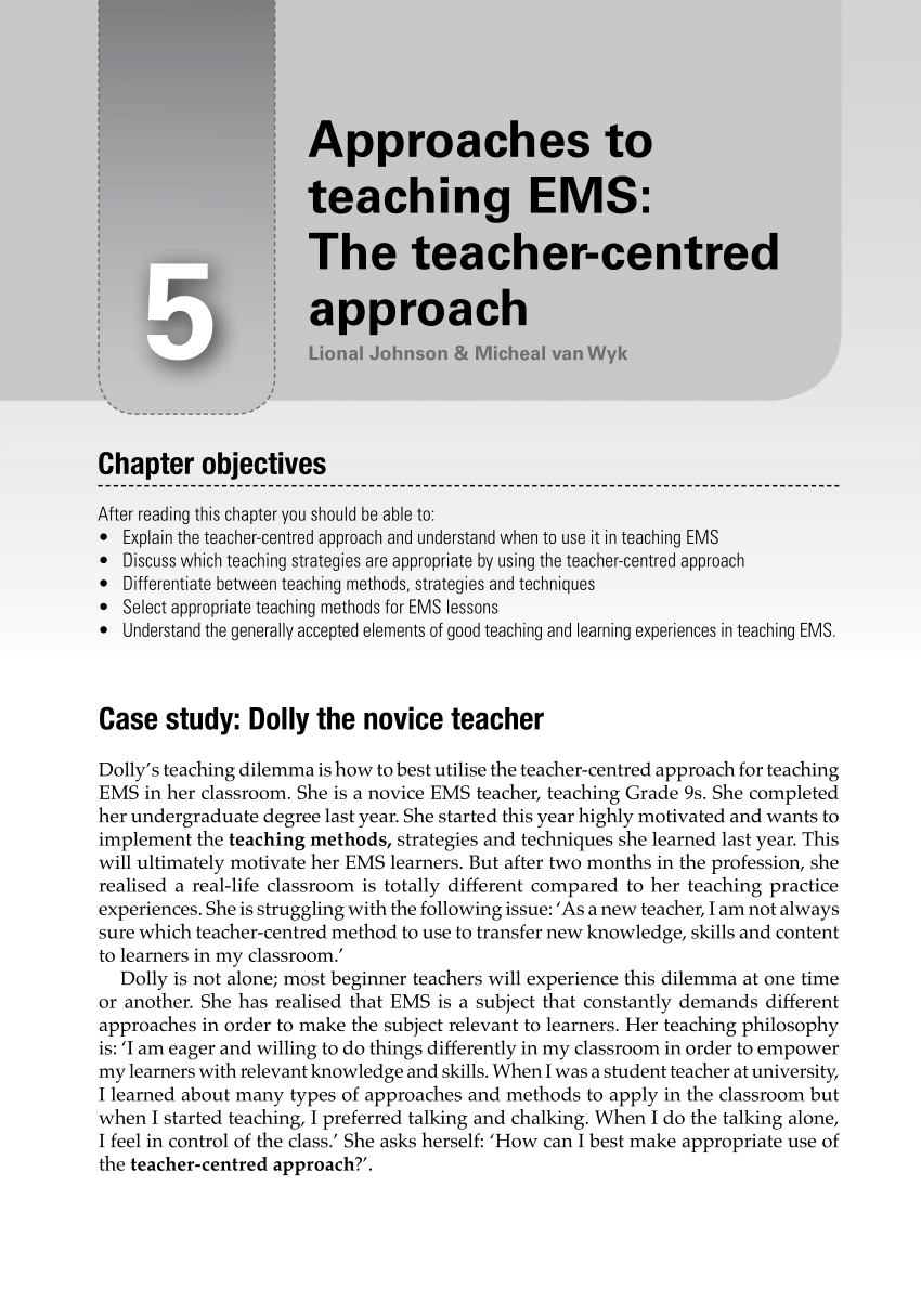 PDF Approaches To Teaching EMS The Teacher Centred