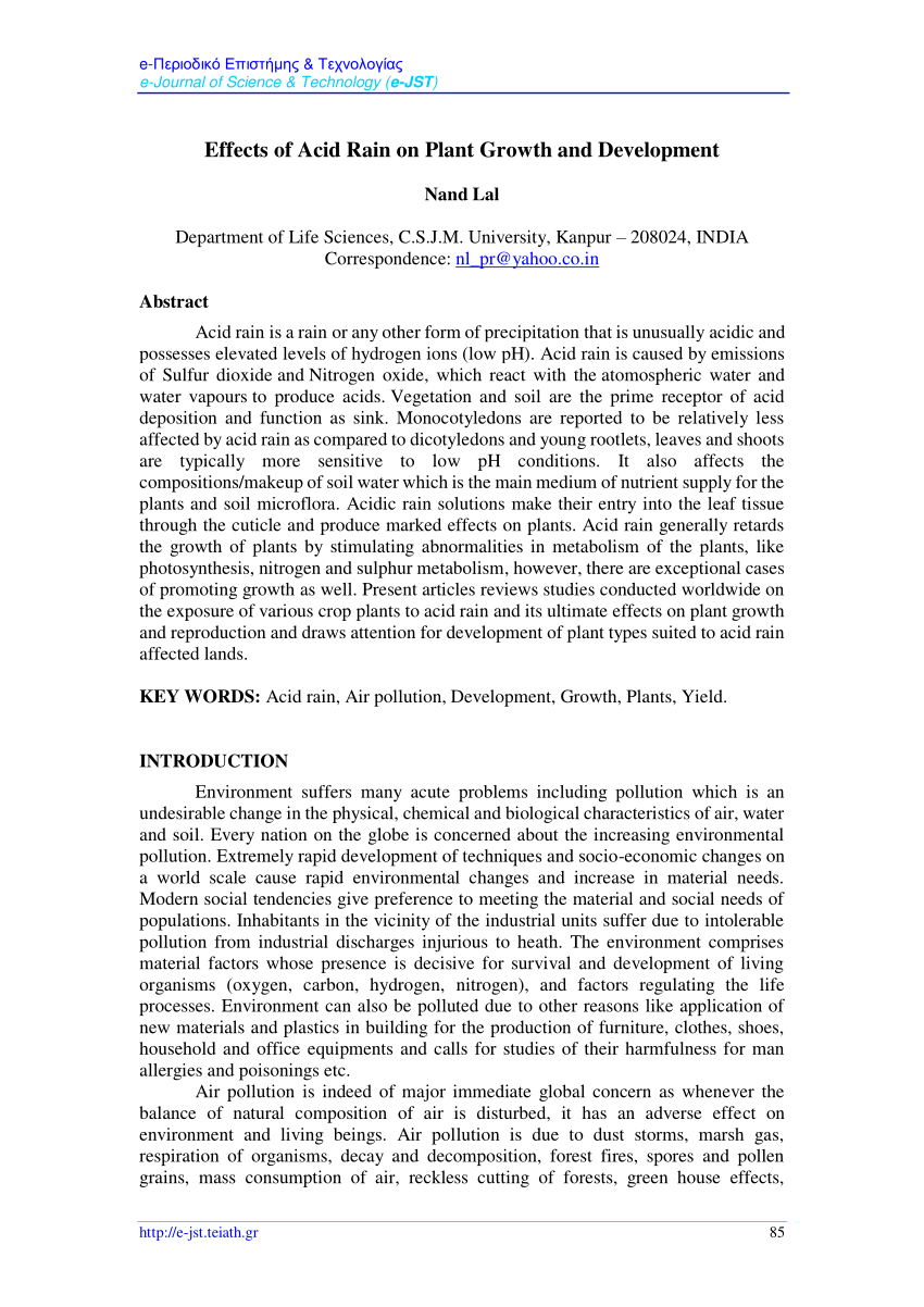 hight resolution of  pdf effects of acid rain on plant growth and development