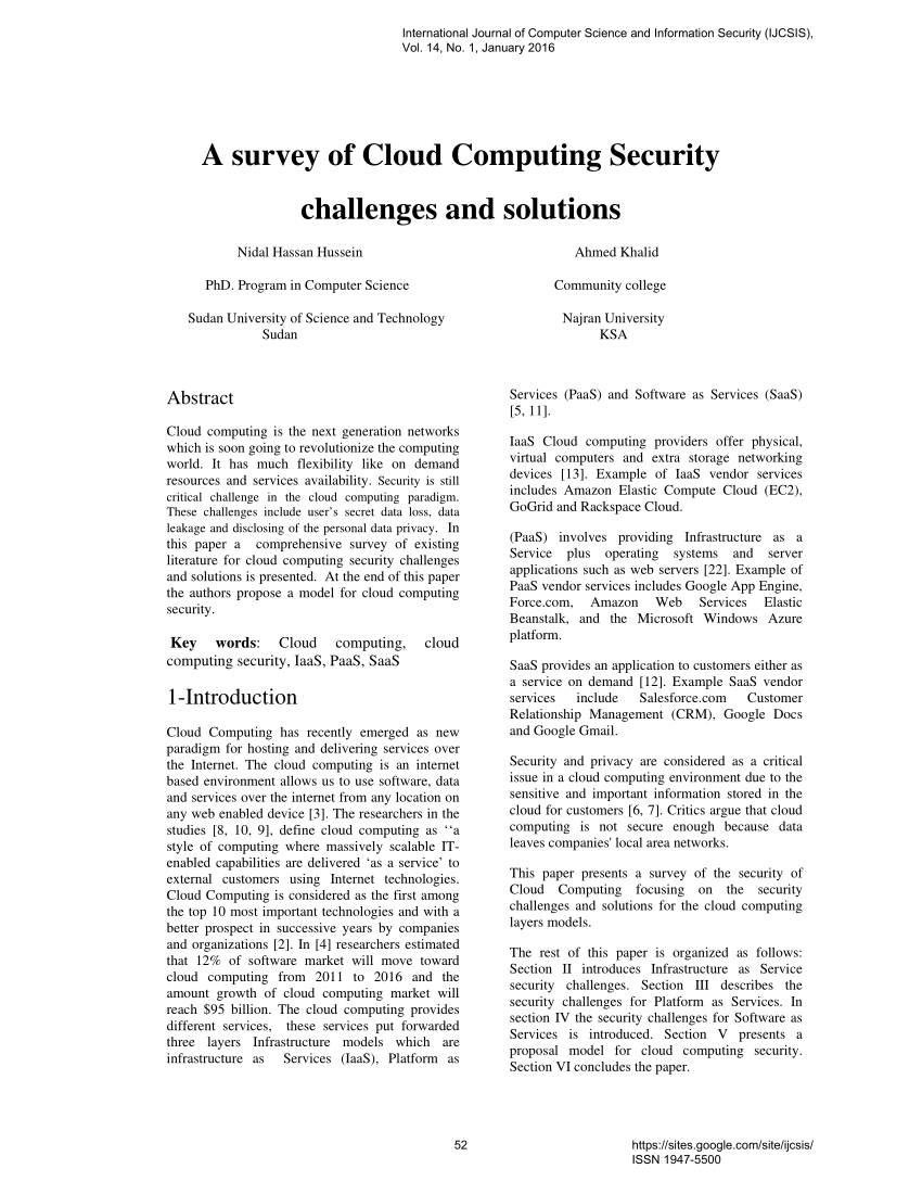 PDF A Survey Of Cloud Computing Security Challenges And Solutions