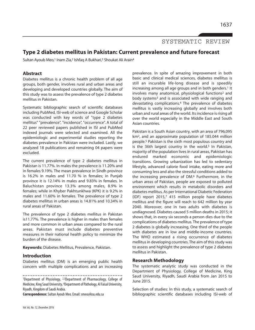 Papers On Diabetes Type Diabetes Mellitus In Current Prevalence And