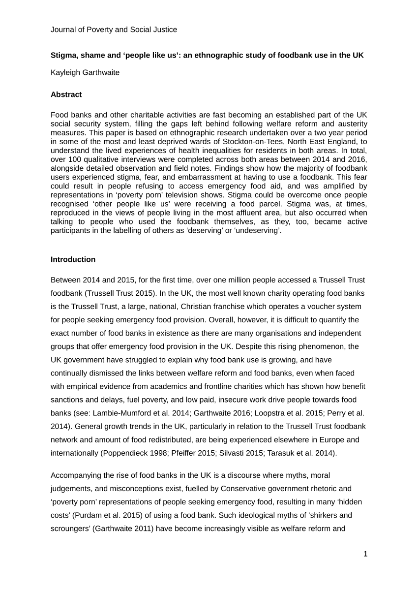 PDF Stigma Shame And 'people Like Us' An Ethnographic Study Of