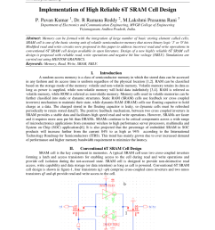 pdf implementation of high reliable 6t sram cell design [ 850 x 1202 Pixel ]