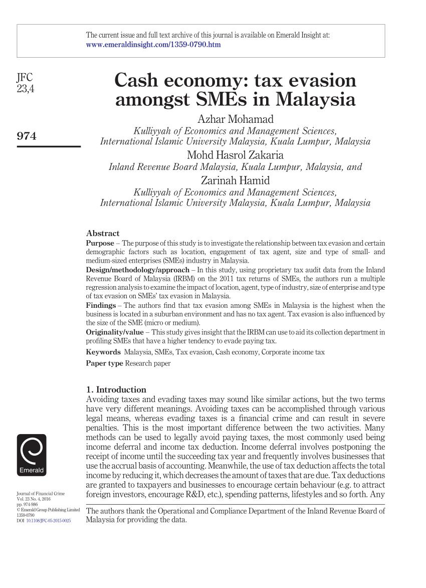 (PDF) Cash economy: Tax evasion amongst SMEs in Malaysia