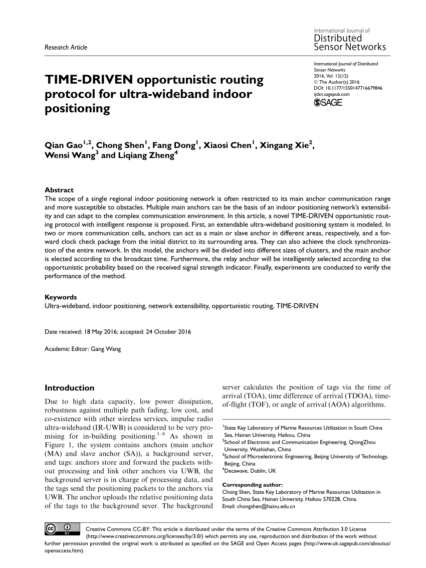 (PDF) TIME-DRIVEN opportunistic routing protocol for ultra-wideband indoor positioning