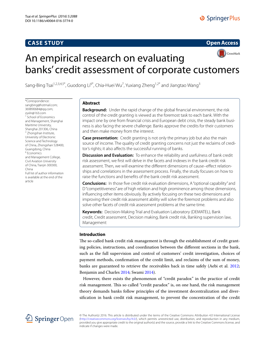 (PDF) An empirical research on evaluating banks' credit assessment of corporate customers