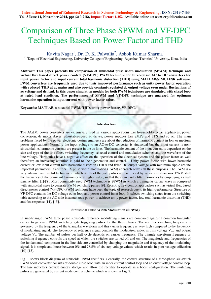 hight resolution of  pdf comparison of three phase spwm and vf dpc techniques based on power factor and thd