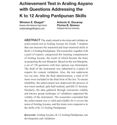 PDF) Development and Validation of an Achievement Test in Araling Asyano  with Questions Addressing the K to 12 Araling Panlipunan Skills [ 1275 x 850 Pixel ]