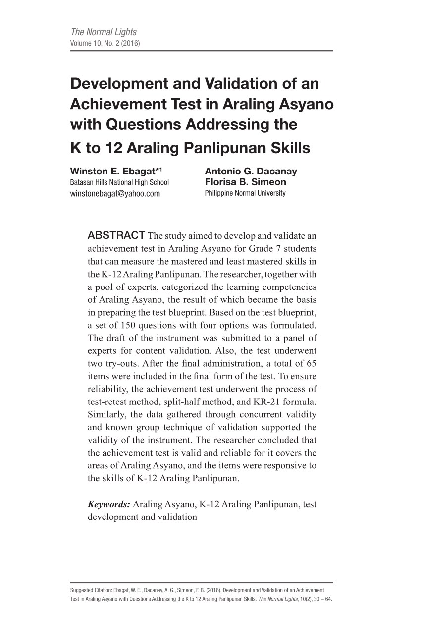 medium resolution of PDF) Development and Validation of an Achievement Test in Araling Asyano  with Questions Addressing the K to 12 Araling Panlipunan Skills