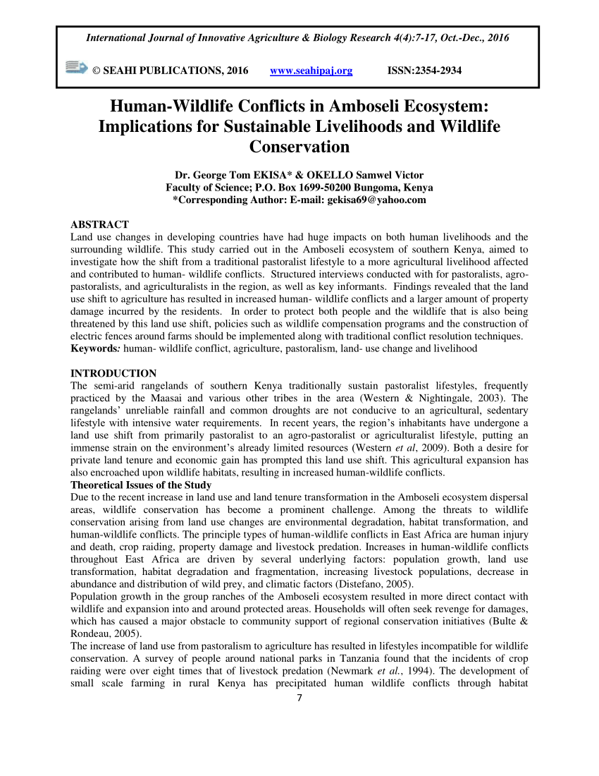 PDF Human Wildlife Conflicts In Amboseli Ecosystem Implications