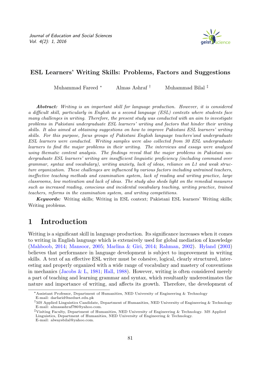 PDF ESL Learners' Writing Skills Problems Factors And