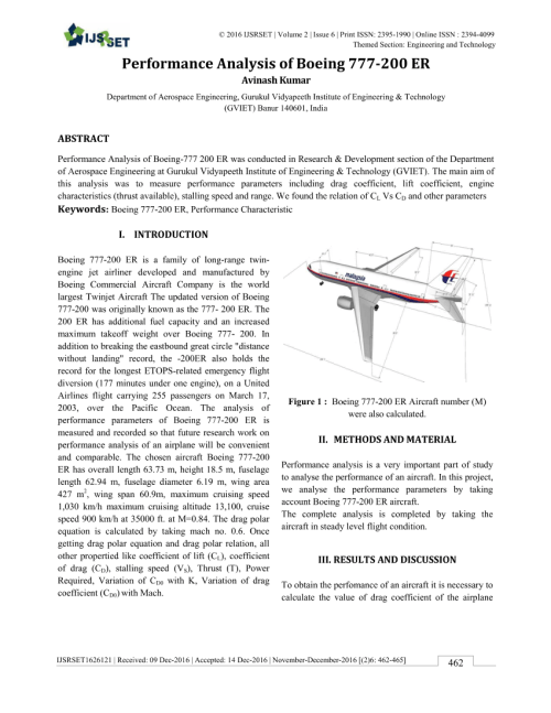 small resolution of  pdf performance analysis of boeing 777 200 er
