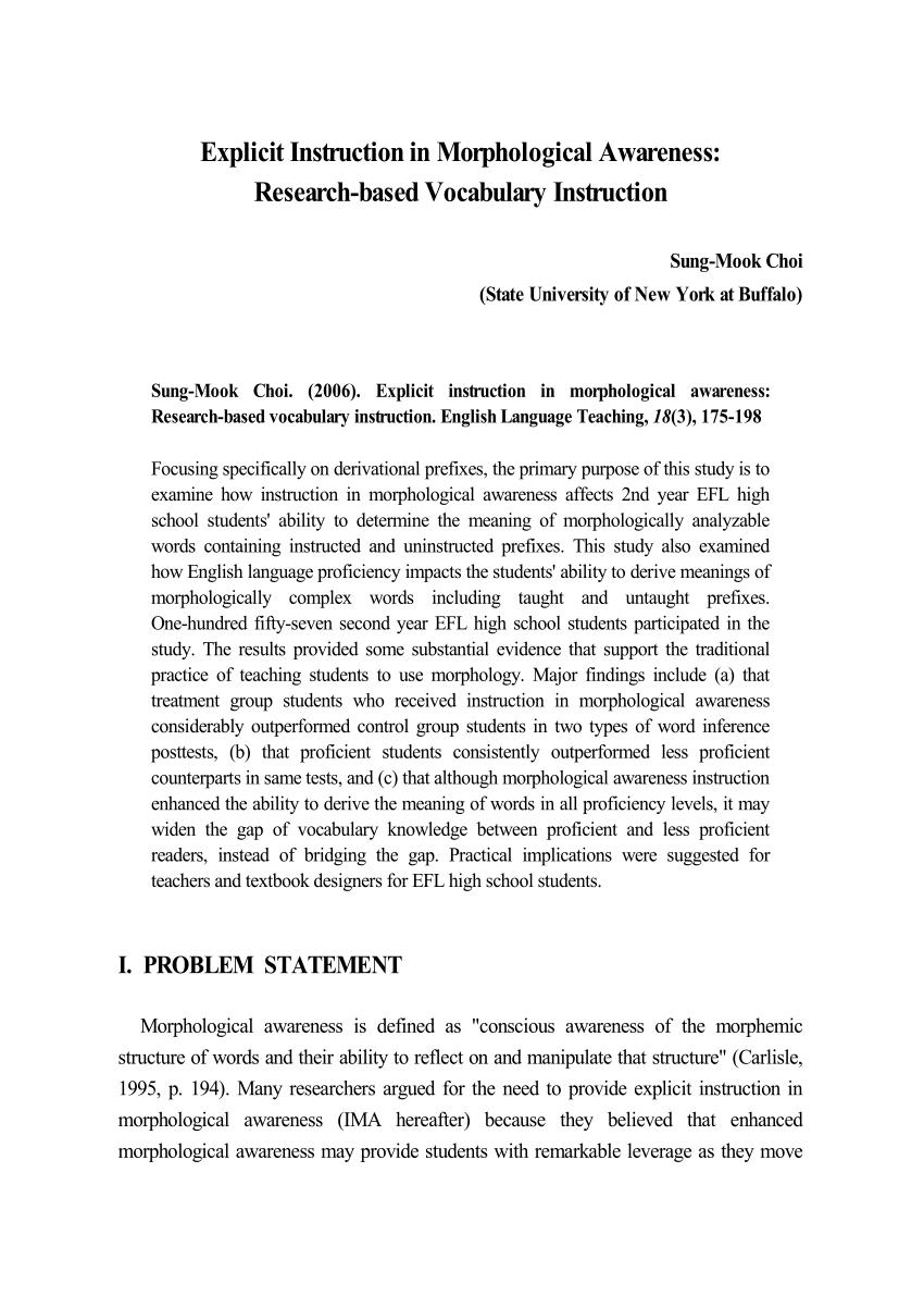 Explicit Instruction In Morphological Awareness