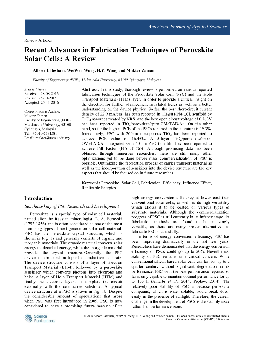 PDF Recent Advances In Fabrication Techniques Of Perovskite Solar