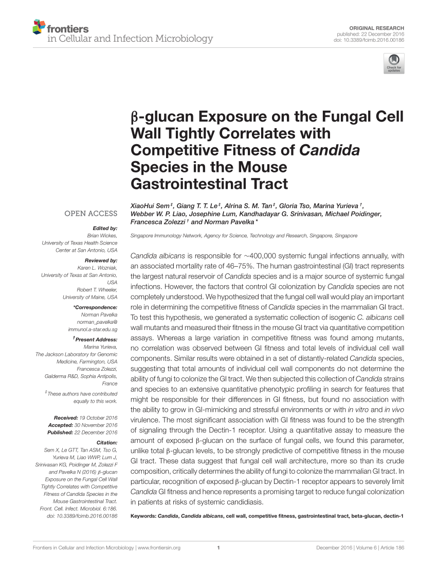 (PDF) β-glucan Exposure on the Fungal Cell Wall Tightly Correlates with Competitive Fitness of Candida Species in the Mouse Gastrointestinal Tract
