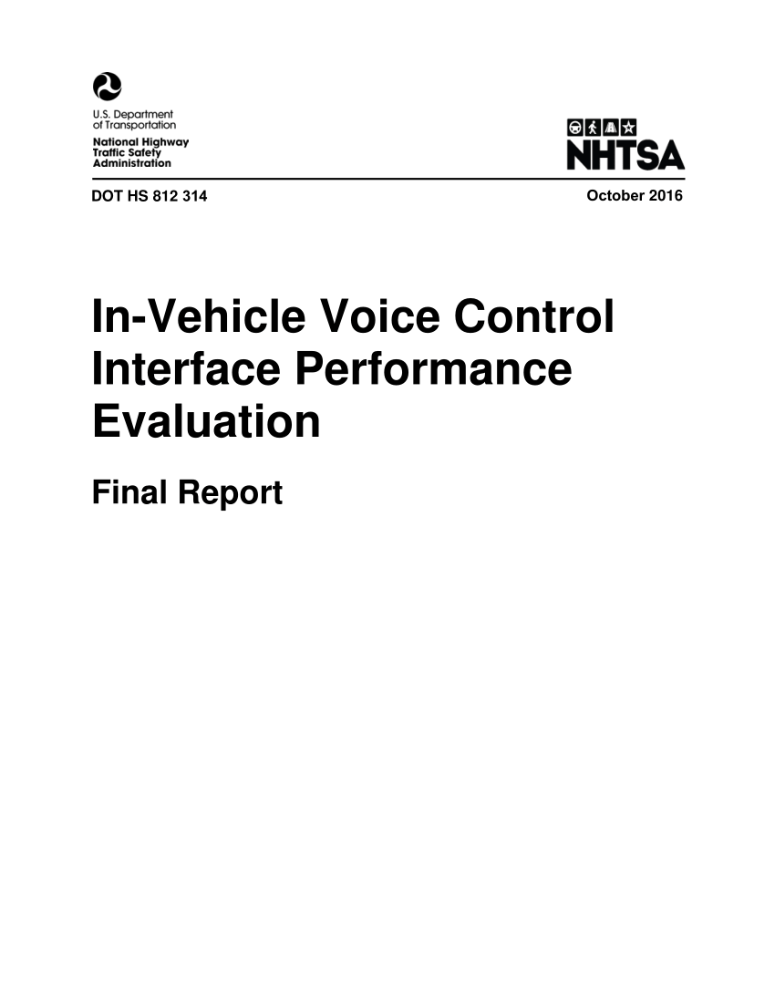 (PDF) In-Vehicle Voice Control Interface Performance