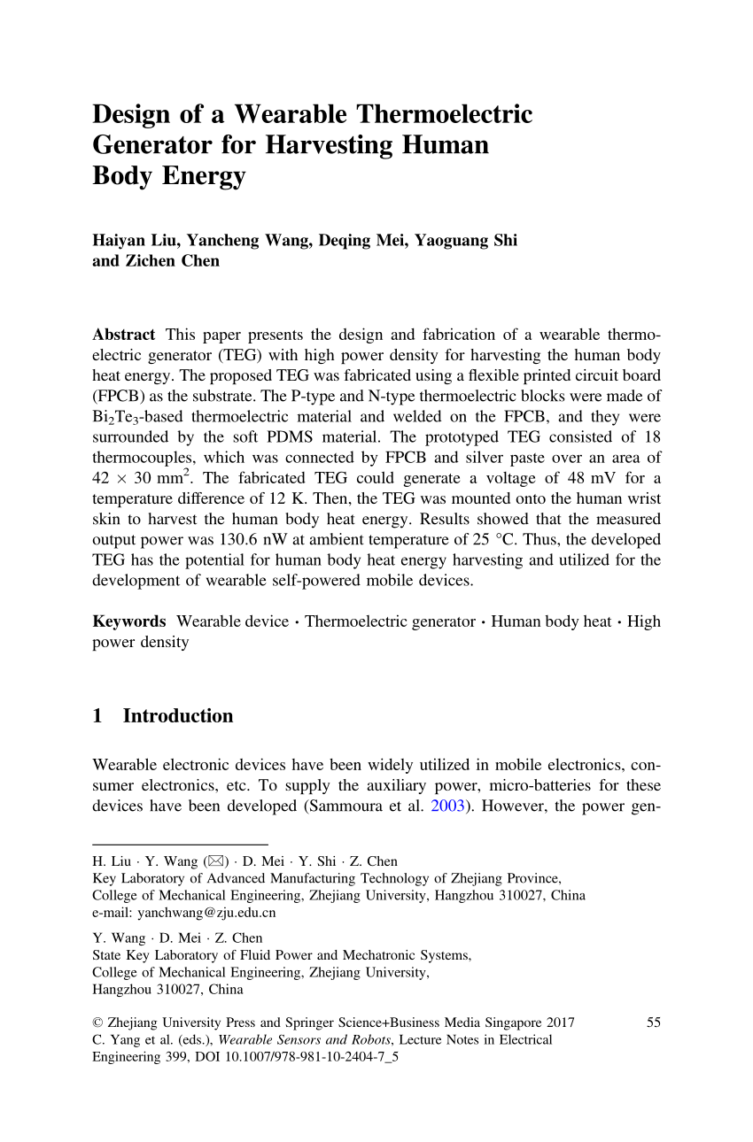 hight resolution of  pdf design and fabrication of wearable thermoelectric generator device for heat harvesting