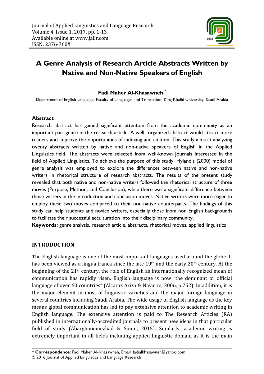 PDF A Genre Analysis Of Research Article Abstracts Written By