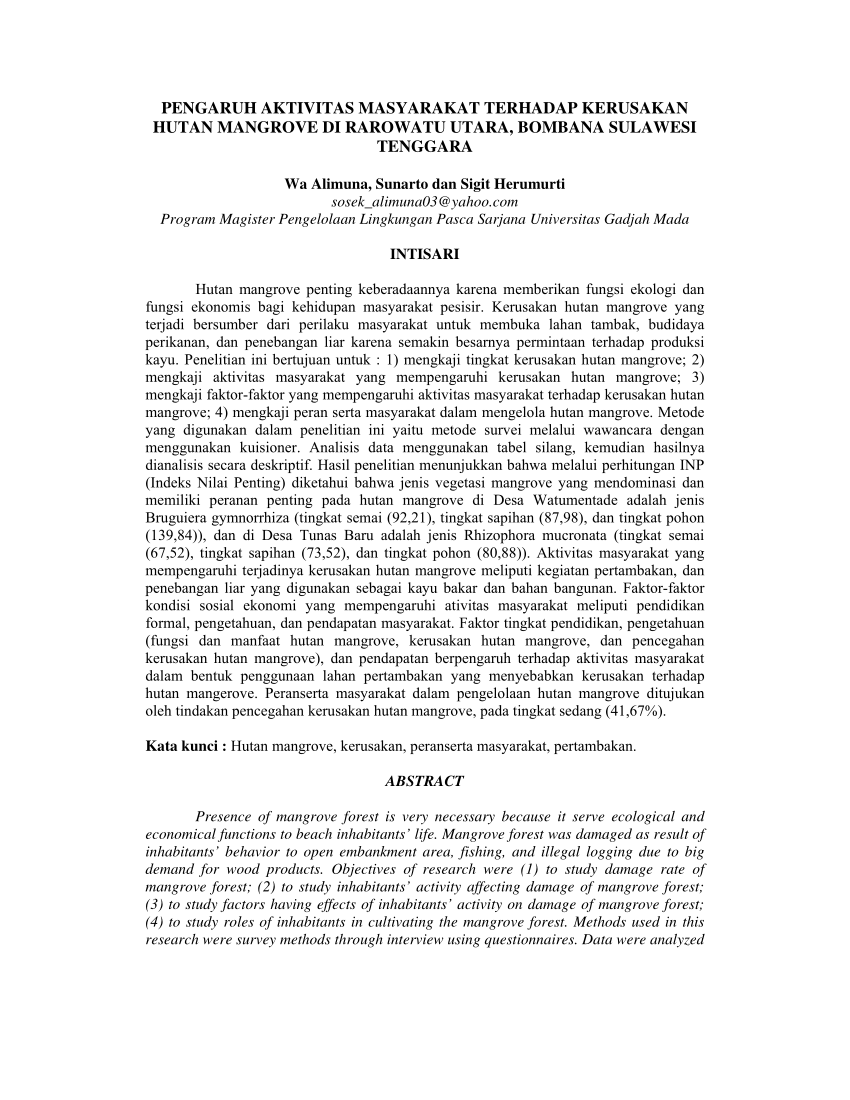 medium resolution of  pdf pengaruh aktivitas masyarakat terhadap kerusakan hutan mangrove di rarowatu utara bombana sulawesi tenggara