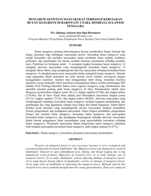 small resolution of  pdf pengaruh aktivitas masyarakat terhadap kerusakan hutan mangrove di rarowatu utara bombana sulawesi tenggara