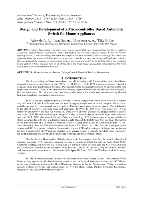 small resolution of  pdf design and development of a microcontroller based automatic switch for home appliances