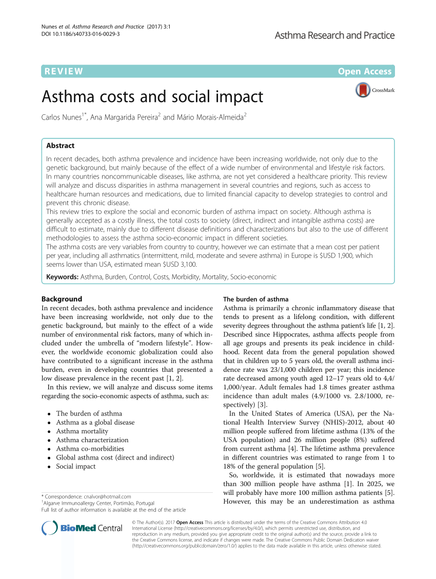 PDF Asthma Costs And Social Impact