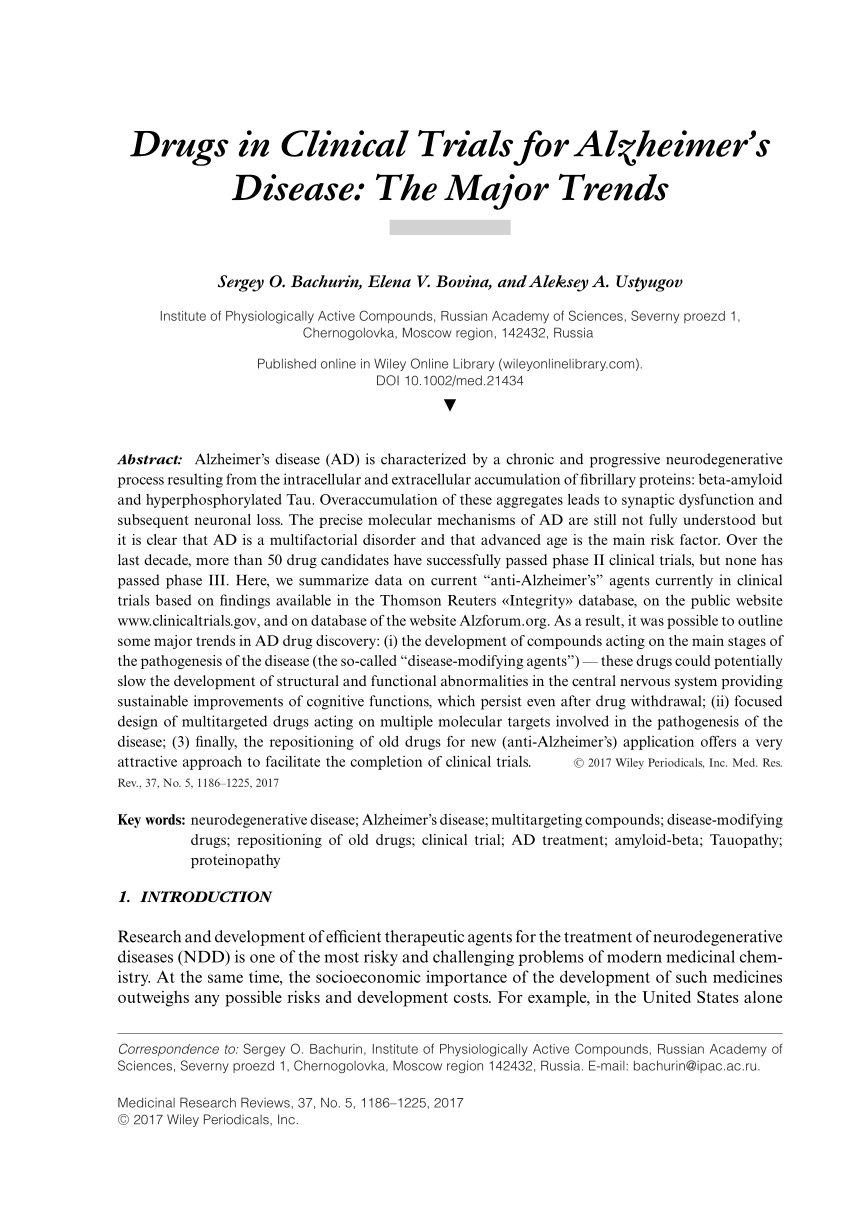 PDF Drugs In Clinical Trials For Alzheimer's Disease The Major Trends