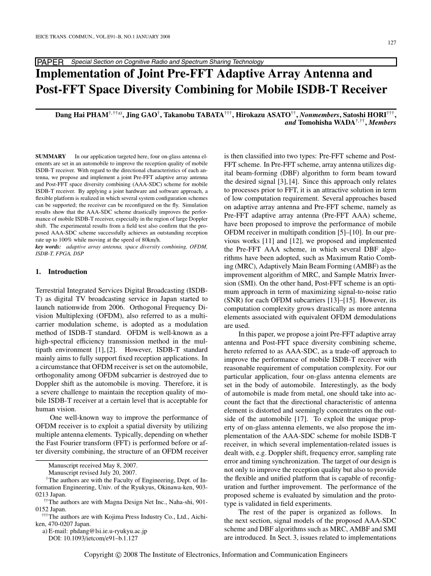 hight resolution of  pdf implementation of joint pre fft adaptive array antenna and post fft space diversity combining for mobile isdb t receiver
